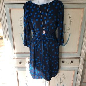 Boden stunning black dress with blue dots sz 8